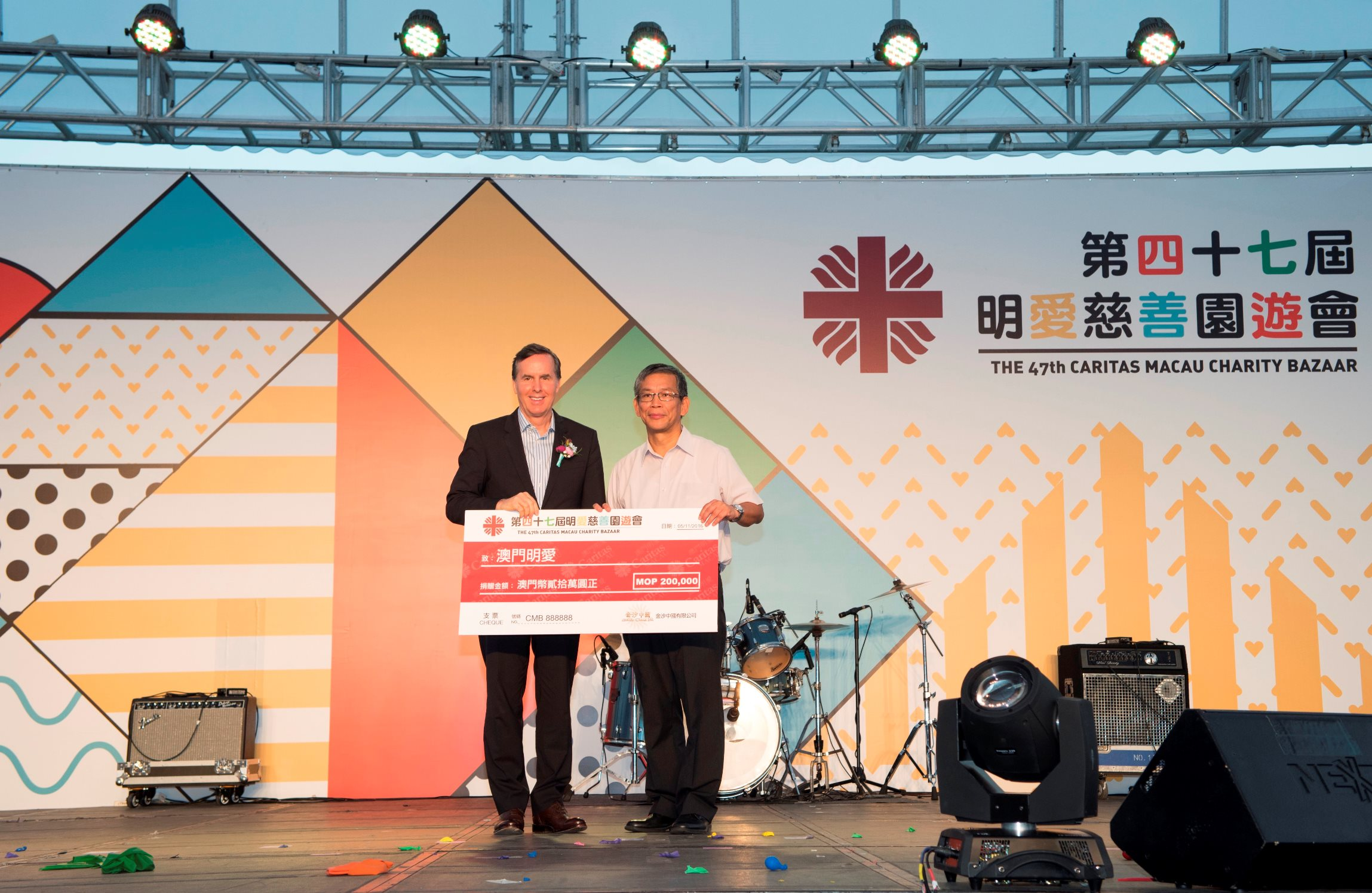 Sands China Cheque Presentation
