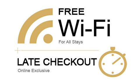 Free WiFi, Late Checkout