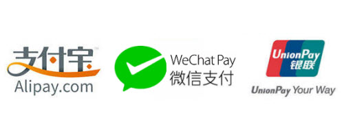 Alipay & Wechat Payment & Unionpay Available