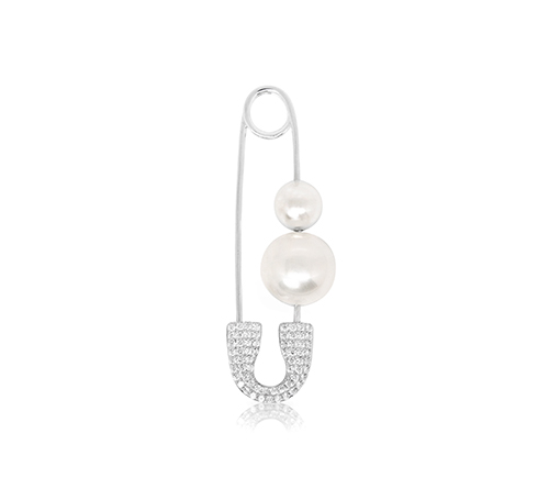 XL Safety Pin Mono Silver Earring with Pearls
